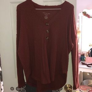Waffle Knit Button Up Sweater
